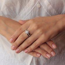 Серебряное кольцо Путеводная звезда с кристаллами циркония