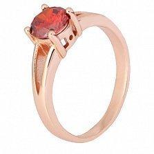Серебряное позолоченное кольцо Мелита с фианитом цвета граната