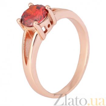 Серебряное позолоченное кольцо Мелита с фианитом цвета граната 000028424