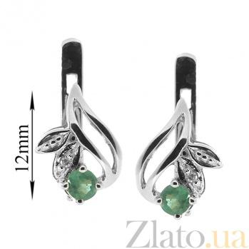 Серебряные серьги с изумрудами и бриллиантами Подарок природы ZMX--EDE-15678-Ag_K