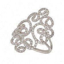 Кольцо из белого золота Арабеска с белым цирконием