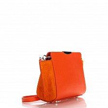 Кожаный клатч Genuine Leather 1686 оранжевого цвета с застежкой-молнией и плечевым ремнем