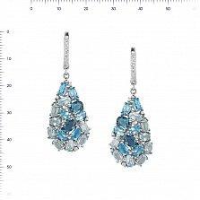 Серебряные серьги-подвески Аврора с топазами и фианитами