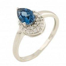 Серебряное кольцо Даниэль с топазом лондон и фианитами