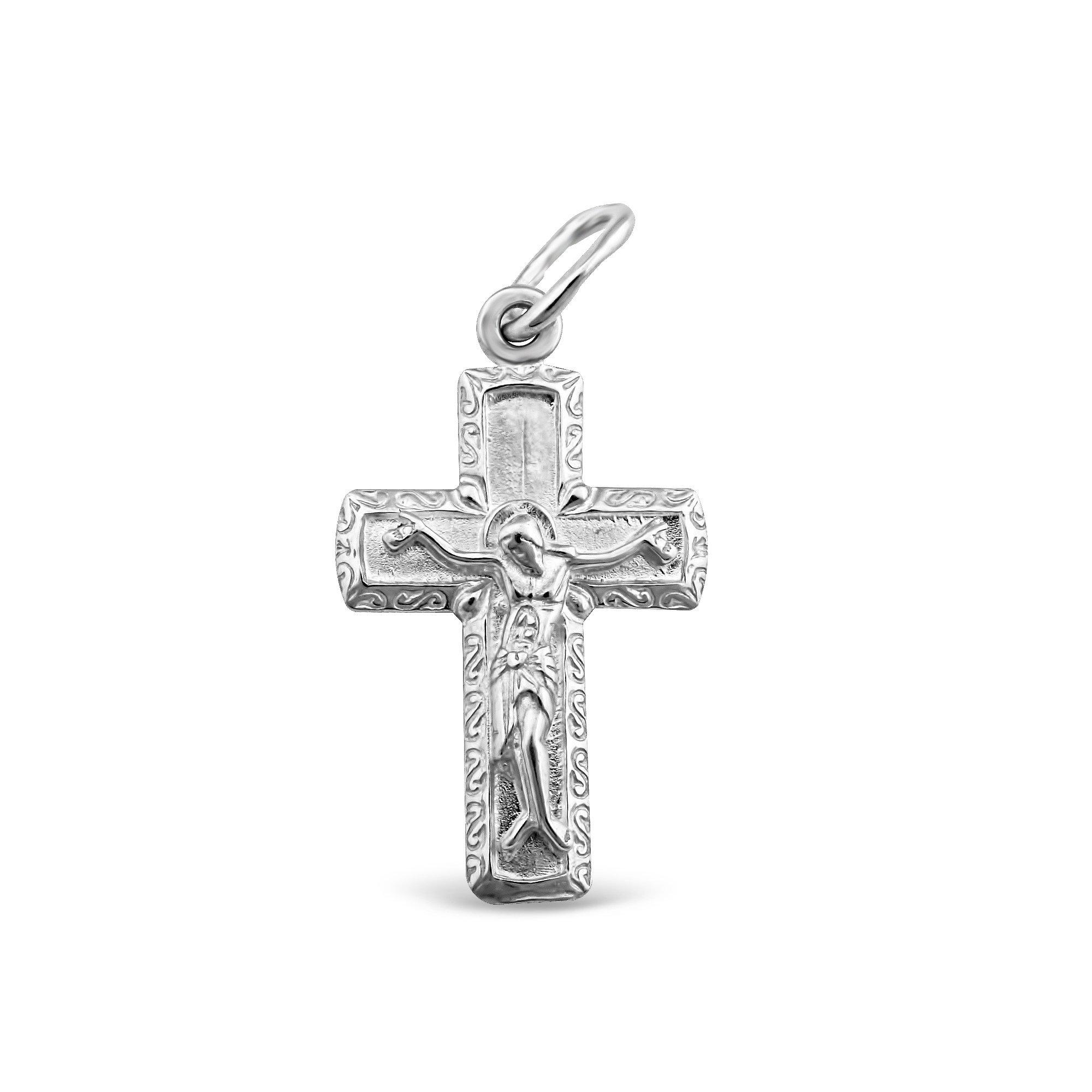 Серебряный крестик Утешитель с родием
