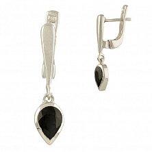 Серебряные серьги-подвески Клодина с сапфиром