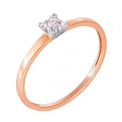 Кольцо в комбинированном цвете золота с бриллиантами 000123635