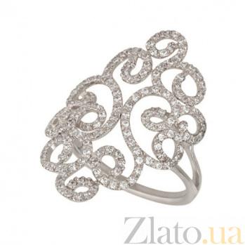Кольцо из белого золота Арабеска с белым цирконием VLT--ТТТ1202