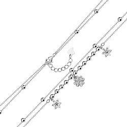 Многослойный серебряный браслет с подвесками и фианитами 000140010