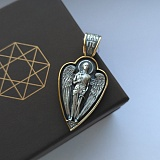 Ладанка из серебра с чернением и позолотой Ангел Хранитель