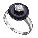 Серебряное кольцо Полнолуние с агатом и цирконием