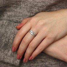 Двойное серебряное кольцо Чаровница с фианитами