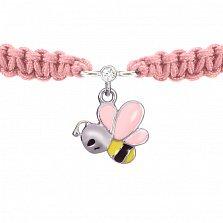 Детский плетеный браслет Пчелка с эмалью и фианитом 10-10 см