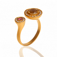 Золотое кольцо Феникс с цитрином, розовым топазом и бриллиантами