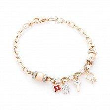 Золотой браслет Весна любви с фианитами, красной и голубой эмалью