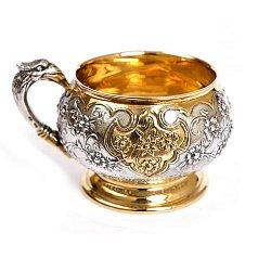 Серебряная чашка Цветы и птицы с позолотой