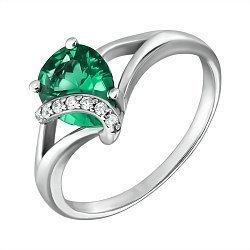 Серебряное кольцо Македония с зеленым кварцем и фианитами