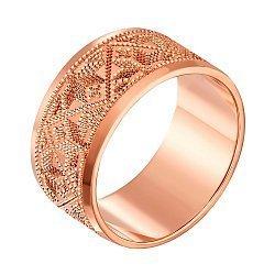 Золотое обручальноекольцо Вышиванка в красном цвете с гравированным орнаментом