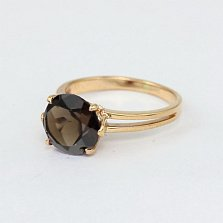 Золотое кольцо с раухтопазом Лазурь