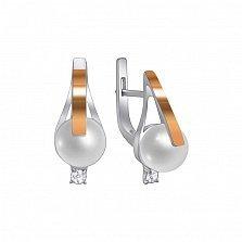 Серебряные серьги с жемчугом и золотой вставкой Камелия