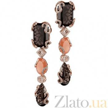 Золотые серьги с раухтопазом, лунным камнем и бриллиантами Клеопатра KBL--C4001/крас/раух