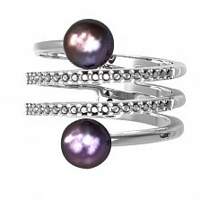 Серебряное кольцо Инферно с черным жемчугом и фианитами
