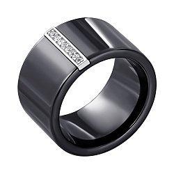 Кільце з чорної кераміки і срібла Айзере з фіанітами 000035146