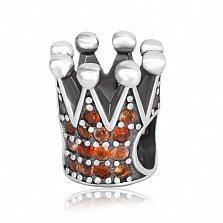 Серебряный подвес-шарм Корона с кристаллами циркония
