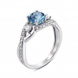 Серебряное кольцо с лондон топазом и фианитами 000133976