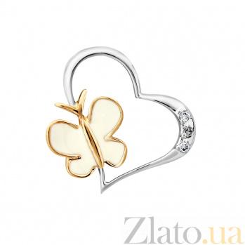 Золотой кулон Мотылек в сердечке в комбинированном цвете с бриллиантами и белой эмалью VLA--34250