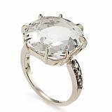 Кольцо Cube из белого золота с коньячными бриллиантами и горным хрусталём