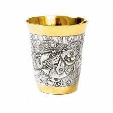 Серебряная детская чашка Карлсон с позолотой
