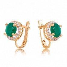 Золотые серьги София с зеленым ониксом и фианитами