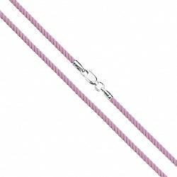 Шелковый сиреневый шнурок с серебряной застежкой 000118001