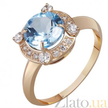 Золотое кольцо с голубым топазом Грезы AUR--31751 02