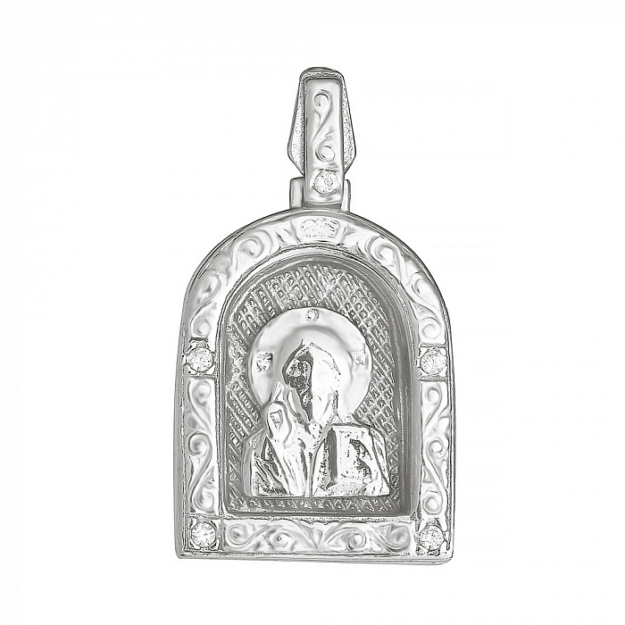 Серебряная ладанка с фианитами Покровитель 000028538 000028538