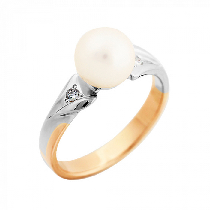 Золотое кольцо Принцесса в комбинированном цвете с жемчужиной и бриллиантами VLA--16100
