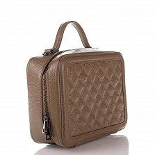 Кожаная деловая сумка Genuine Leather 8891 цвета тауп с перекресной строчкой и съемным ремнем