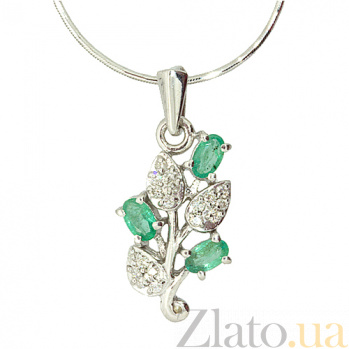 Серебряный кулон с изумрудами и бриллиантами Валенсия ZMX--PDE-6153-Ag_K