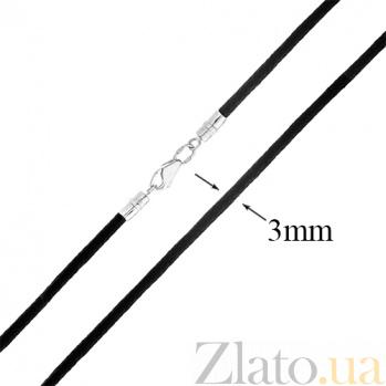 Коттоновый чёрный шнурок с серебряной застёжкой Лорэнс 000030695