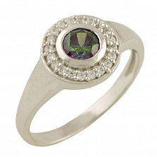 Серебряное кольцо Амбер с топазом мистик и фианитами