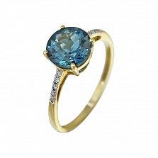 Кольцо из желтого золота Полианна с бриллиантами и голубым топазом