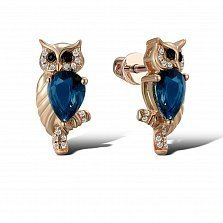 Серьги из красного золота Сова с бриллиантами и топазами Swiss blue