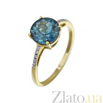 Кольцо из желтого золота Полианна с бриллиантами и голубым топазом 000080905