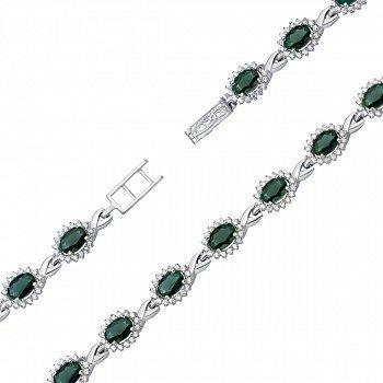 Серебряный браслет с зеленым кварцем и фианитами 000134686