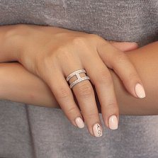 Серебряное кольцо Леона с фианитами