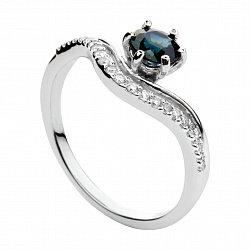 Кольцо из белого золота с сапфиром и бриллиантами Княгиня