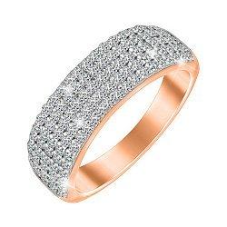 Серебряное кольцо с позолотой и фианитами 000052265