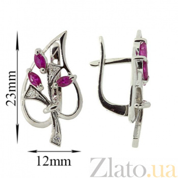 Серебряные серьги с бриллиантами и рубинами Диля ZMX--EDR-6286-Ag_K