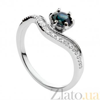 Кольцо из белого золота с сапфиром и бриллиантами Княгиня 000030341